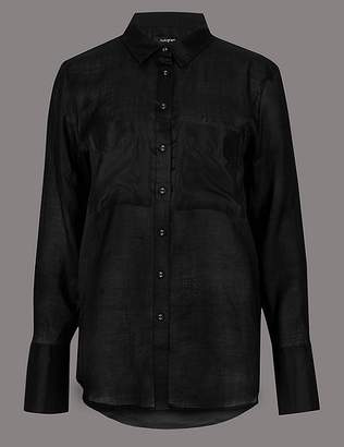 Marks and Spencer Ramie Pocket Detail Long Sleeve Shirt
