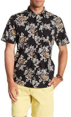 Natural Blue Short Sleeve Hawaiian Print Modern Fit Shirt