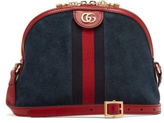Gucci Ophidia Gg Suede Cross Body Bag - Womens - Blue Multi