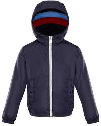 Moncler Camarsac Lightweight Down Jacket w/ Colorblock Hood, Size 4-6