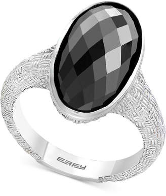 Effy Onyx Oval Textured Statement Ring in Sterling Silver