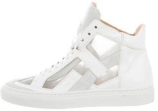 MM6 by Maison Martin Margiela Leather High-Top Sneakers $125 thestylecure.com