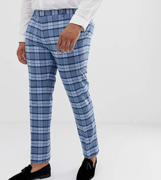 Twisted Tailor super skinny suit pants in light blue check