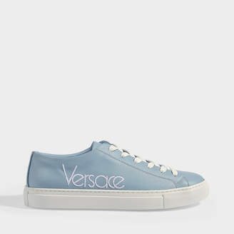 Versace Sports Sneakers With Logo In Blue And White Calfskin