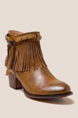 Wanted Maine Fringe Western Ankle Boot - Tan