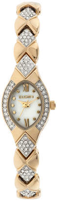 Elgin Womens Gold Tone Mother Of Pearl Crystal Accent Bracelet Watch Eg10006G