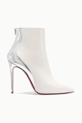 Christian Louboutin Delicotte 100 Smooth And Mirrored-leather Ankle Boots - White
