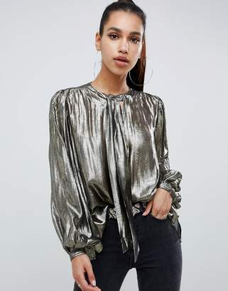 Asos DESIGN oversized blouse in metallic with pussybow