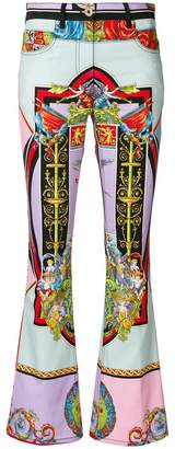 Versace angel print flared trousers
