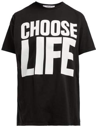 Katharine Hamnett Choose Life Cotton Jersey T Shirt - Womens - Black White