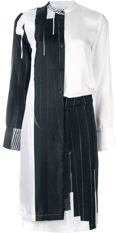 DKNYDKNY trompe-l'œil print overlay dress