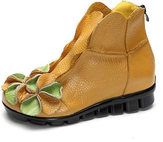Socofy Zipper Flat Boots,Women's Soft Leather Ankle Vintage Unique Handmade Flower Round Topline Shoes