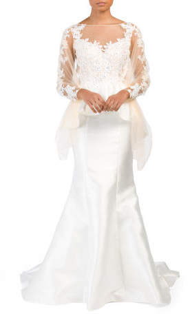 Long Sleeve Lace Peplum Gown