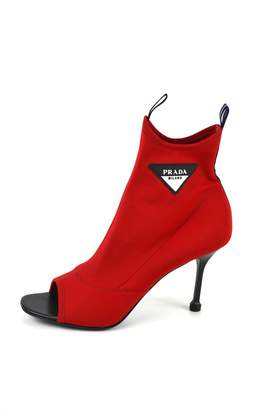 Prada Red Cloth Ankle boots