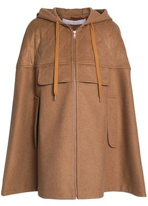 See by Chloe Quilted Wool-blend Felt Hooded Cape