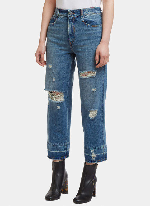 Distressed Cropped Jeans in Blue