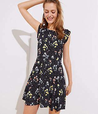 LOFT Petite Floral Dot Button Down Flutter Dress