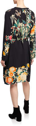 Johnny Was Winter Ume Button-Down Floral Slip Dress