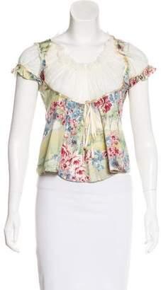 Blumarine Silk Floral Print Top