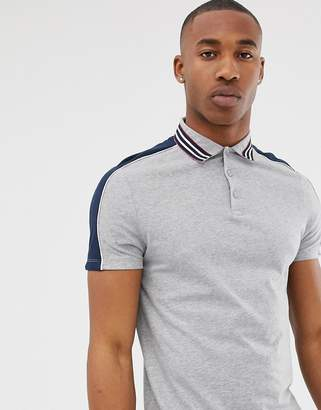 Asos Design DESIGN polo shirt with contrast shoulder panels and collar taping in grey