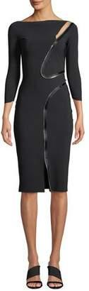 Chiara Boni Asymmetric-Zip Body-Con Dress