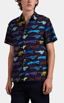 "Paul Smith Men's ""Live Faster""-Print Cotton Camp-Collar Shirt - Navy"