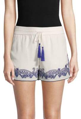 Melissa Odabash Embroidered Silk Shorts