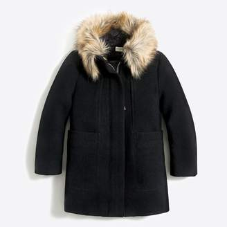J.Crew Factory Girls' faux-fur collar coat