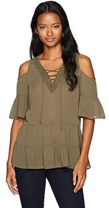 Amy Byer A. Byer Women's Cold Shoulder V-Neck Top with Front Lace Up