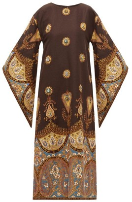 Gucci Crystal Embellished Linen Blend Dress - Womens - Brown Multi
