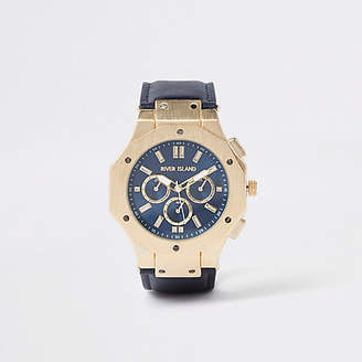 River Island Gold tone navy face watch