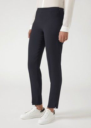 Emporio Armani Cady Cigarette Trousers With Hem Slits