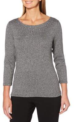 Rafaella Petites Petite Embellished Boatneck Sweater