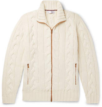 Brunello Cucinelli Cable-Knit Cashmere Zip-Up Cardigan - Men - Cream
