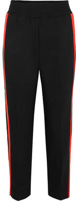 Maje Striped Cotton-blend Track Pants - Black