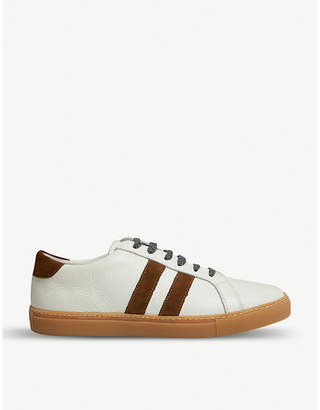 Eleventy Stripe leather and suede trainers