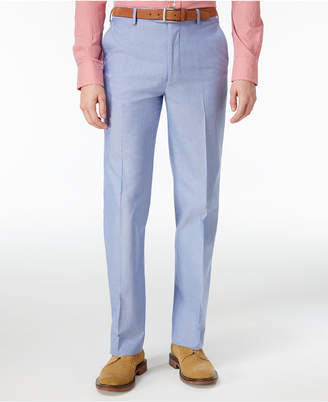 Tommy Hilfiger Men's Slim-Fit Stretch Performance Blue Chambray Solid Suit Pants $100 thestylecure.com