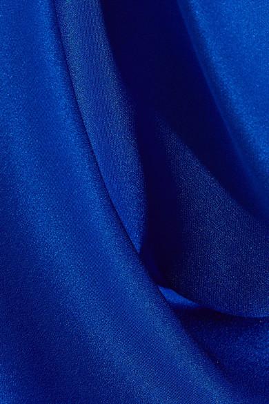 Cushnie et Ochs - Open-back Chain-trimmed Silk Crepe De Chine Halterneck Top - Bright blue 4
