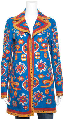 Valentino Blue Multicolor Geometric Print Suede Long Sleeve Studded Coat (Size 4)