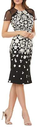 Carmen Marc Valvo Embroidered Cocktail Dress