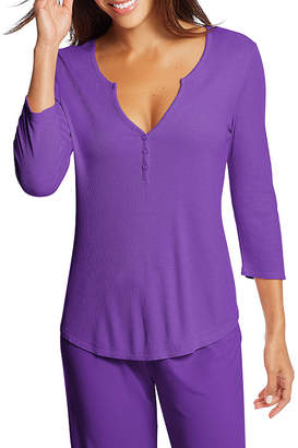 Maidenform Knit 3/4 Sleeve Henley Neck Nightshirt