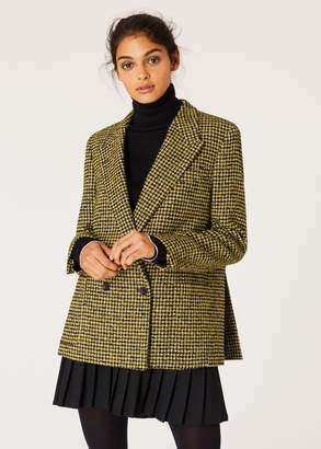 Paul Smith Women's Black And Yellow Dogtooth Pattern Double-Breasted Wool-Blend Blazer