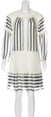 Alberta Ferretti Silk Striped Lace-Trimmed Mini Dress w/ Tags