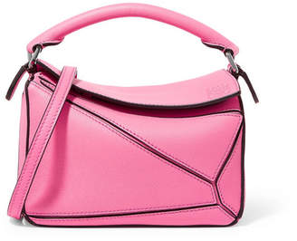 Loewe Puzzle Mini Textured-leather Shoulder Bag - Bright pink