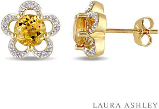 Laura Ashley FINE JEWELRY Diamond Accent Genuine Yellow Citrine 10K Gold 11mm Stud Earrings