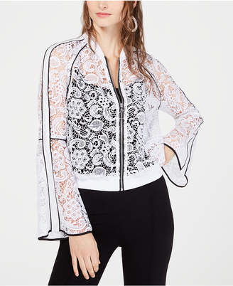INC International Concepts I.n.c. Bell-Sleeve Lace Bomber Jacket