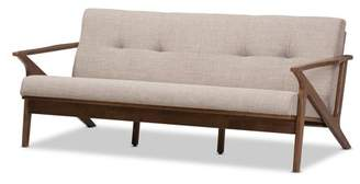 Baxton Studio Bianca Mid-Century Modern Walnut Wood Light Grey Fabric Tufted 3-Seater Sofa