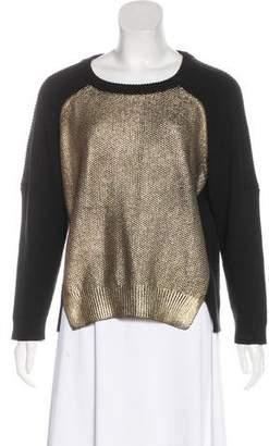 Michelle Mason Metallic-Accented Rib Knit Sweater