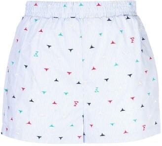 Fleur Du Mal Oxford logo striped boxer shorts