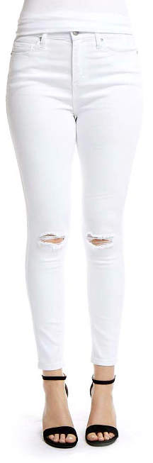 White Distressed-Knee Jeans - Women